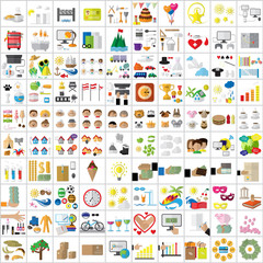 Flat Icons Set: Vector Illustration, Graphic Design. Collection Of Colorful Icons