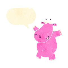 retro cartoon hippo with speech bubble