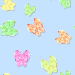 Seamless pastel colored butterflies pattern on blue