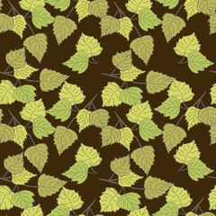 Birch leaves (brown background)