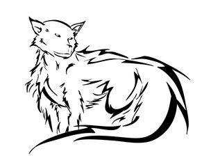 Wolf, a hand drawn vector illustration of a wolf in a stylish design, perfect for tattoo, illustration and logo.