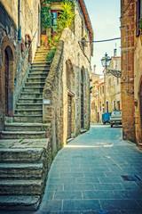 Alley in old town Pitigliano Tuscany Italy - fototapety na wymiar
