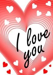 I love you inscription in heart blending shape. Declaration of love, greeting beloved girl, modern Valentine day theme