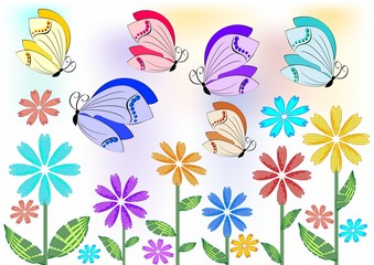 Cheerful colored butterflies flying over flowers on meadow or in garden. Design element for garden acivities, spring advertisement. Merry topic for a good mood