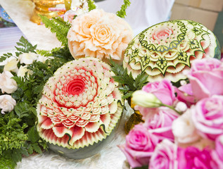 Watermelon carving craft of beautiful Thailand.