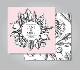 Vintage elegant wedding invitation card template with peony flow