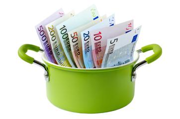 Kochtopf mit Geld