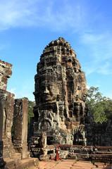 Ancient buddhist khmer temple in Angkor Wat, Cambodia. Bayon Pra