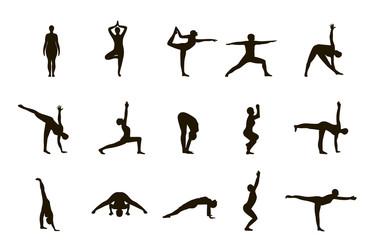 Асаны йоги. Вектор.