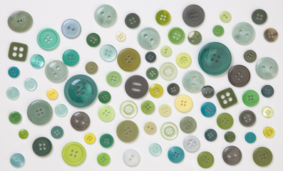 Collection of Green Designer Buttons on White Background