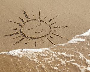Dessin de soleil sur le Sable