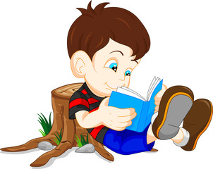 cute boy reading books