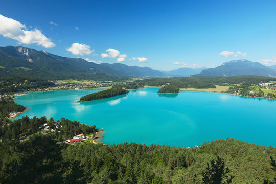 View of Alpine lake Faaker See in Carinthia, Austria
