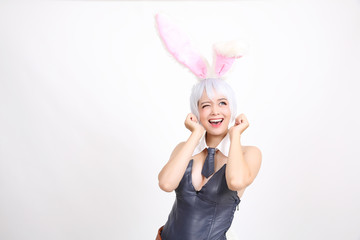 Bunny girl isolated in white background
