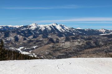 Top of a groomed ski run at Purgatory