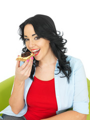 Young Woman Eating a Cracker with Mozzerella Cheese and Tomato