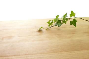 木目と葉っぱ