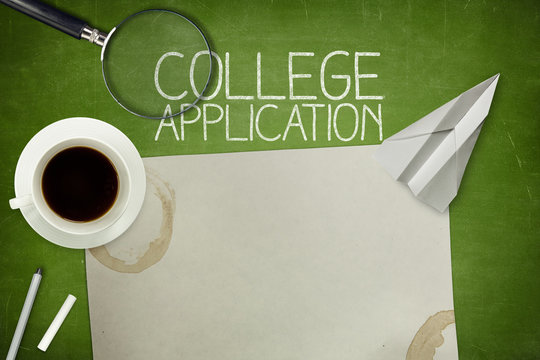 College application concept on green blackboard with empty paper