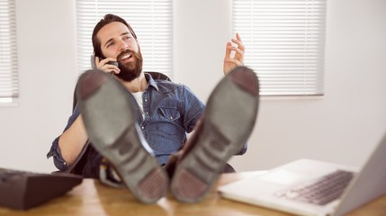 Hipster businessman on a call