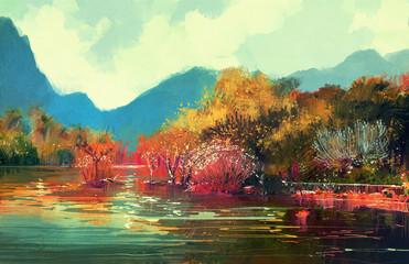 painting of beautiful autumn forest,illustration.