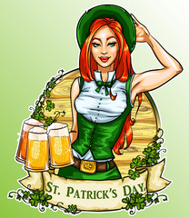 St. Patricks Day label with pretty Irish Girl