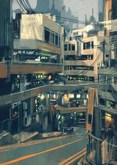 sci fi cityscape with futuristic buildings,illustration digital painting