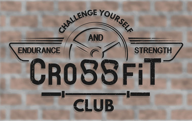 CrossFit. The emblem in vintage style.