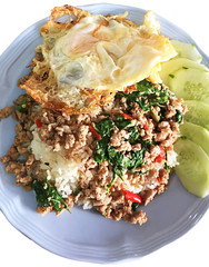 Thai spicy food basil pork fried with rice and fried egg ,Pad Kr