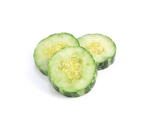 Striped cucumber isolated on the white background.