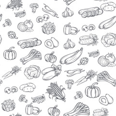 Estores personalizados con tu foto Seamless pattern with hand drawn vegetables.