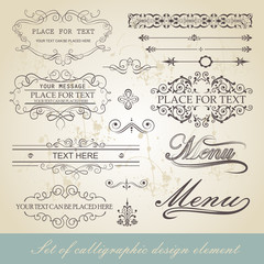 menu calligraphic design element