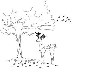 Deer with tree Illustration