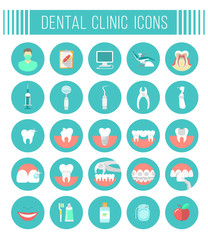 Set of modern flat vector conceptual icons of dental clinic services, stomatology, dentistry, orthodontics, oral health care and hygiene, tooth restoration, dental instruments and tools