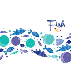 Decorative blue fish on a white background. Cute postcard.