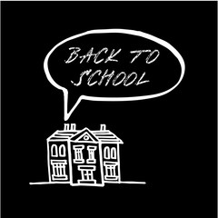 Back to school, chalk doodle, sketch on blackboard, vector