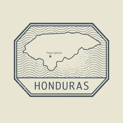 Stamp with the name and map of Honduras