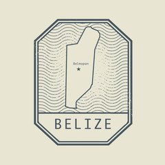Stamp with the name and map of Belize