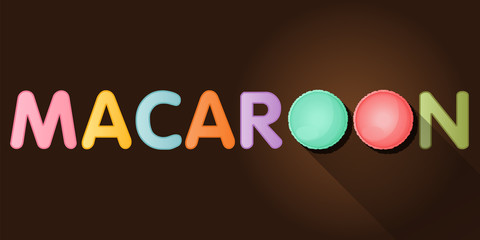 macaroon word with top view of macaroons