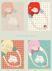 Colorful happy birthday cards