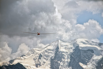 glider over swiss alps glacier view in Engadina