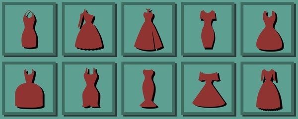 Different styles of dresses