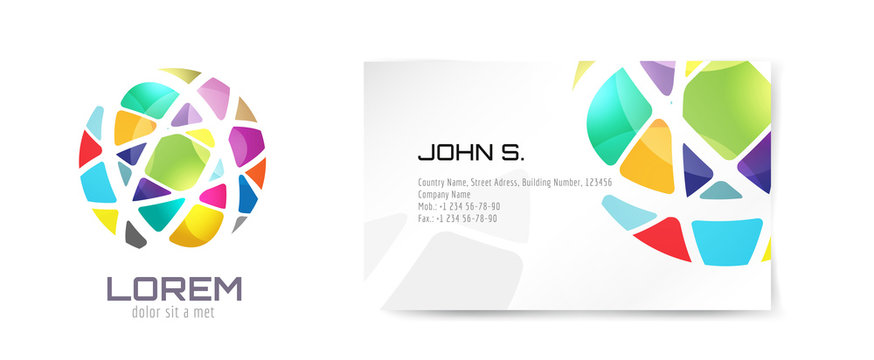 Vector globe logo and business card template. Abstract arrow