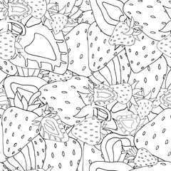 Seamless pattern Set of monochrome strawberries