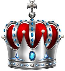 Silver crown on white