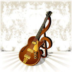 vector illustration jazz guitar with a treble clef and shadow on grunge background template for poster or billboard