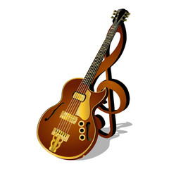 vector illustration of a jazz guitar with a treble clef and shadow isolated object pattern poster or billboard