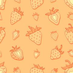 Seamless pattern Set red strawberries