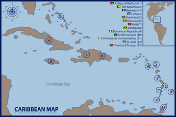 Caribbean Map with Flags and Location