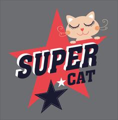 Cat vector/T-shirt graphics/cute cat illustration/Cartoon styled vector illustration/cat poster/cat graphics for textiles/princess cat design/adorable cute cat/tabby cat/