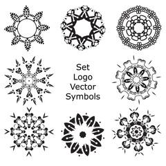Set Hand drawing zentangle mandala logo symbols